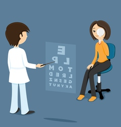 Ophthalmologist checks sight at the woman vector