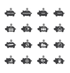 Piggy bank icon set money saving vector