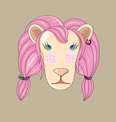 Pink lion cartoon vector