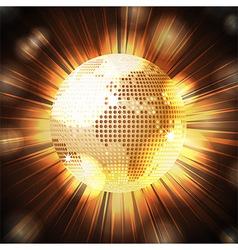 Sparkling world globe light explosion vector