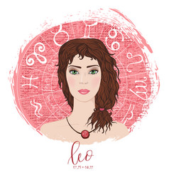 zodiac signs leo in image of beauty girl vector image