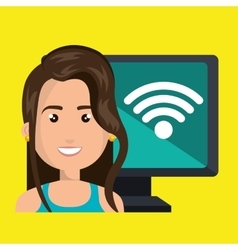 Woman pc wifi web vector