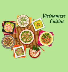 Vietnamese cuisine oriental dishes icon vector