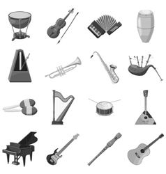 Musical instrument icons set gray monochrome style vector