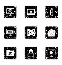 Viruses icons set grunge style vector