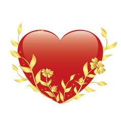 Red heart with gold plants vector
