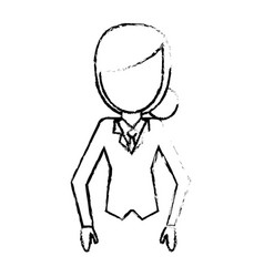 Sketchy woman female faceless design vector