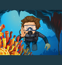 Man doing scuba diving under the ocean vector