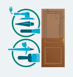 Restore a wood door concept vector