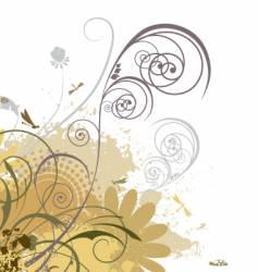 grunge floral swirls vector image