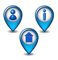 Set of blue map pointer icon vector