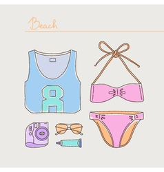 Summer collection of woman bikini clothes and vector image