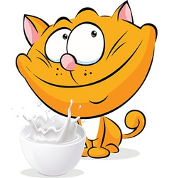 Cute ginger cat sitting isolated with milk - vector