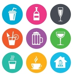 Coffee tea icons alcohol drinks signs vector