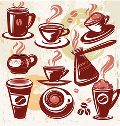 Set of coffee symbols vector