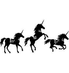 Set of Unicorns silhouettes vector image