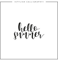 Hello summer time of year calligraphy phrase in vector