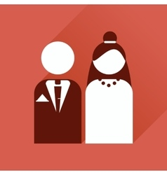 Flat web icon with long shadow bride and groom vector