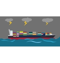 Container ship on middle of sea and bad weather vector