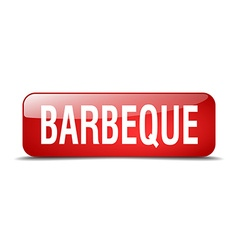 Barbeque red square 3d realistic isolated web vector