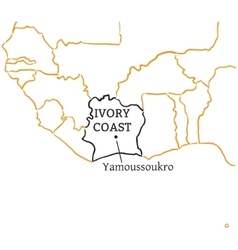 Ivory coast hand-drawn sketch map vector