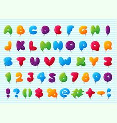 balloon alphabet character set vector image vector image