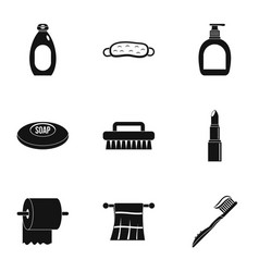 bathroom accessories icons set simple style vector image