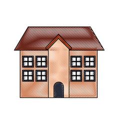 Building facade exterior chimney roof vector