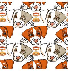 Cartoon dog on white seamless pattern vector