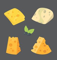 Cheese types cartoon style vector