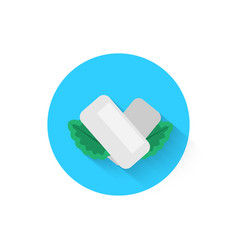 Chewing gum with mint leaves is an icon icon vector