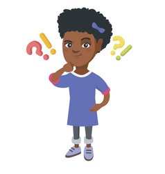girl standing under question and exclamation marks vector image