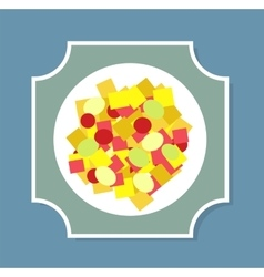 Greek salad on the plate vector image