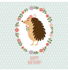 Hedgehog with flowers Greeting card vector image vector image