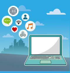Laptop social media communication network city vector