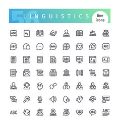linguistics line icons set vector image