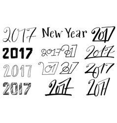 New year 2017 lettering set vector image vector image