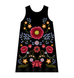 poppy embroidery dress vector image