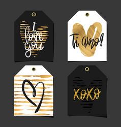 Set of 4 romantic labels vector
