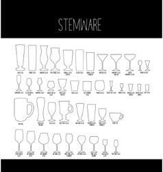 Set of stemware vector
