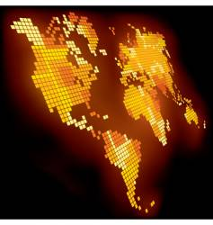 shining pixel world map vector image vector image