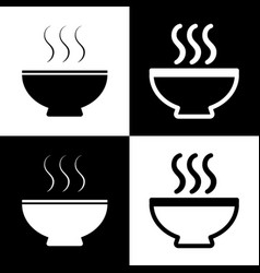 Soup sign black and white icons and line vector