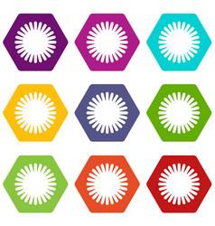 sun icon set color hexahedron vector image vector image