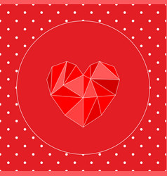 Valentines card with triangle heart and white dots vector