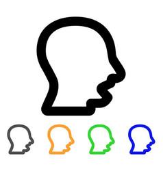 Yawning head stroke icon vector