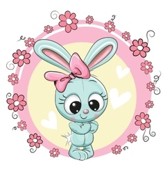 Bunny with flowers on a pink background vector