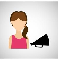 woman character megaphone retro speaker design vector image