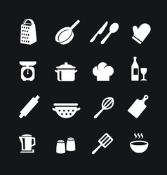 Set of kitchen tools silhouettes icons vector