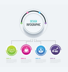 4 abstract circle infographic number business vector