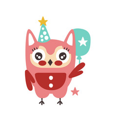 Cute cartoon owl bird in a party hat with balloon vector